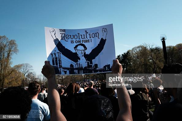 Throngs of supporters listen as Democratic Presidential candidate Bernie Sanders speaks in Prospect Park to hear Democratic Presidential candidate...