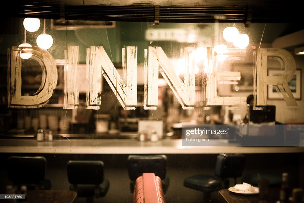 Through the glass of a diner window : Stock Photo