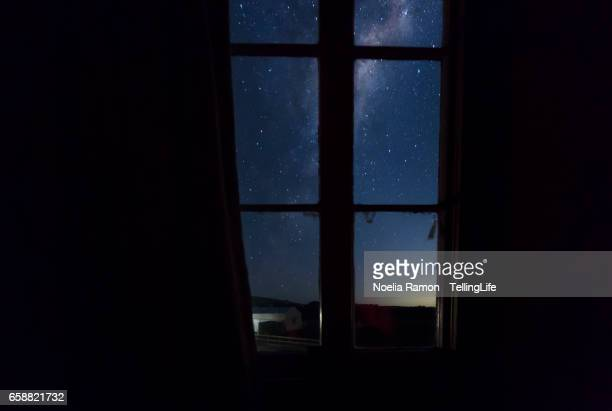 Through the window: Milky Way, an old church and the night sky at a farm in Victoria, Australia