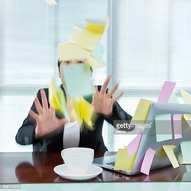 throwing the adhesive notes