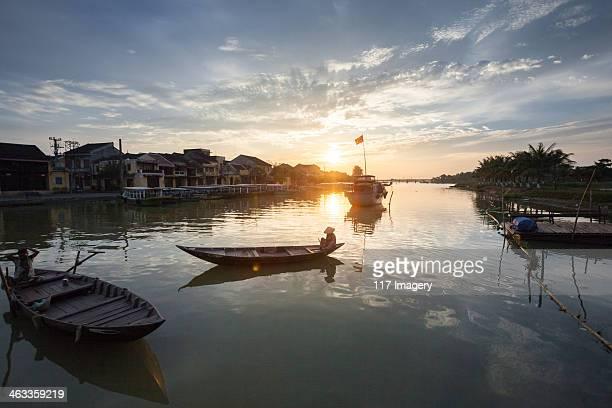 Thu Bon riverside in Hoi An at dusk, Vietnam