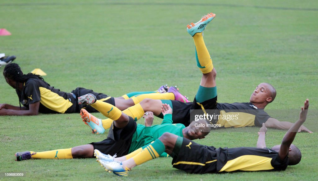 Thulani Serero during the South African national soccer team training session at Moses Mabhida Stadium on January 22, 2013 in Durban, South Africa.