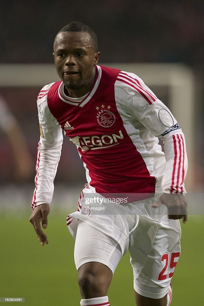 Thulani Serero of Ajax during the Dutch Cup match between Ajax Amsterdam and AZ Alkmaar at the Amsterdam Arena on february 27, 2013 in Amsterdam, The Netherlands