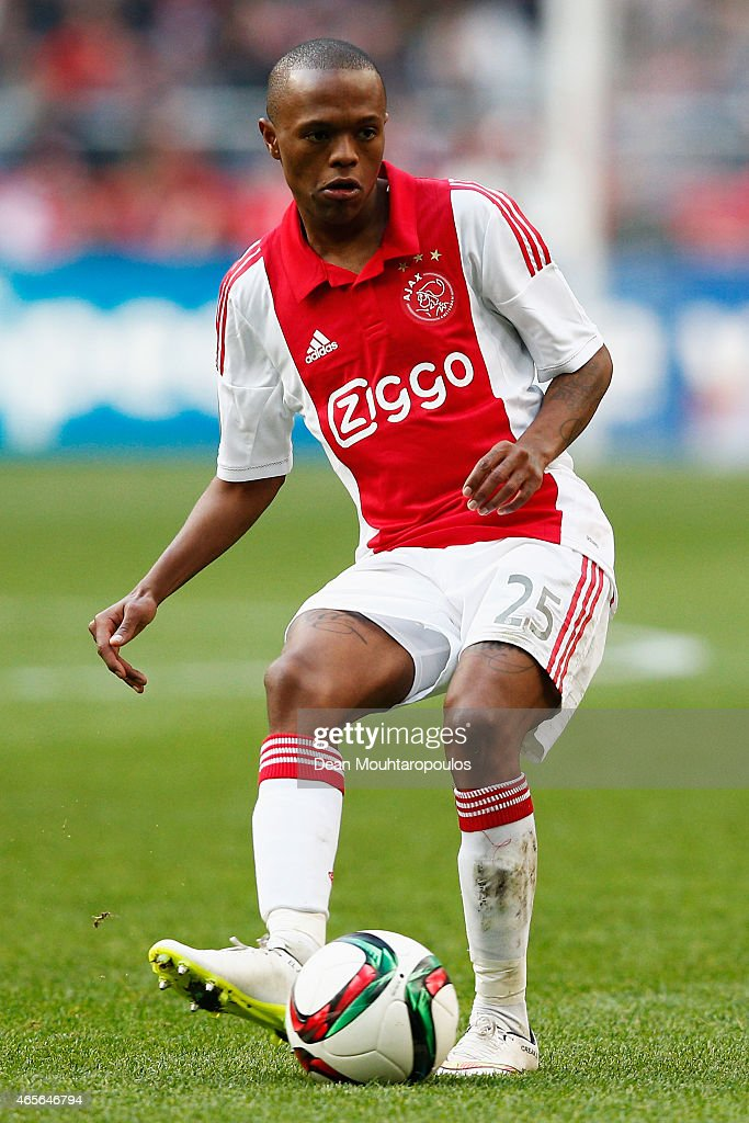 <a gi-track='captionPersonalityLinkClicked' href=/galleries/search?phrase=Thulani+Serero&family=editorial&specificpeople=6234374 ng-click='$event.stopPropagation()'>Thulani Serero</a> of Ajax in action during the Dutch Eredivisie match between Ajax Amsterdam and SC Excelsior Rotterdam held at Amsterdam Arena on March 8, 2015 in Amsterdam, Netherlands.