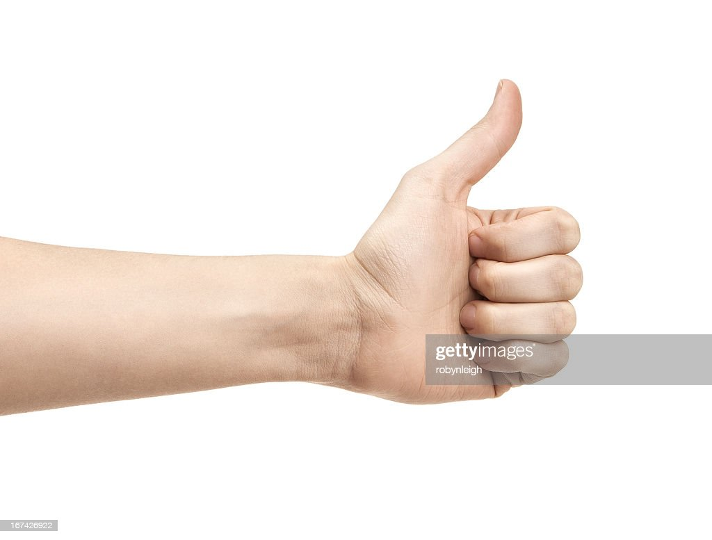 Thumbs up against a white background : Stock Photo