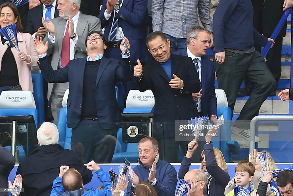 A thumbs up from Leicester City owner Vichai Srivaddhanaprabha as he and his son Aiyawatt celebrate at the end of the Barclays Premier League match between Leicester City and Southampton at The King Power Stadium on April 3, 2016 in Leicester, England.