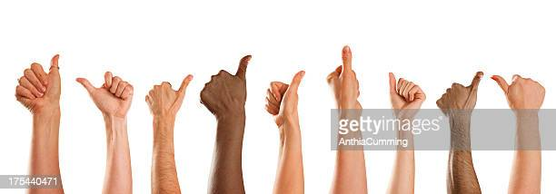 Thumbs up in approval from mixed nationalities