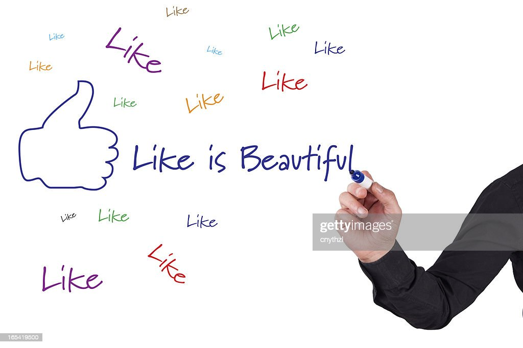 Thumbs Up 'LIKE'-Social Media Concept on Whiteboard : Stock Photo