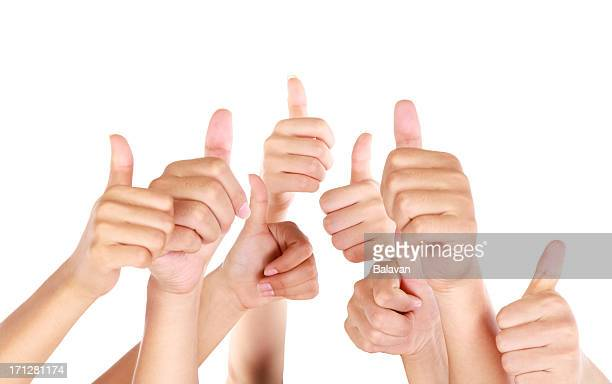 Thumbs up on white background