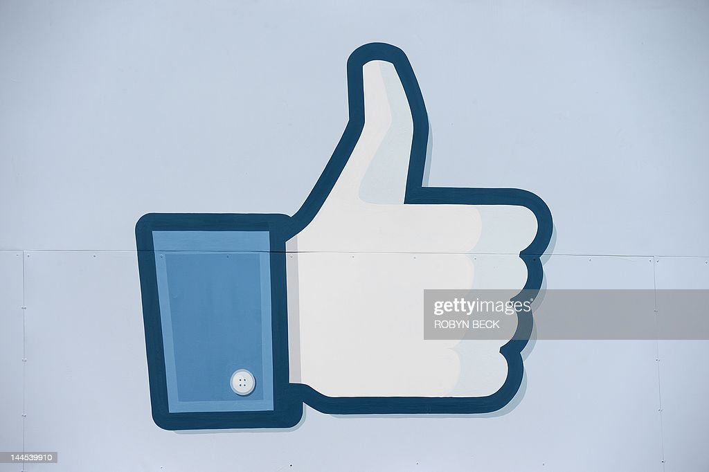 A thumbs up or 'Like' icon at the Facebook main campus in Menlo Park, California, May 15, 2012. Facebook, the world's most popular internet social network, expects to raise USD $12.1 billion in what will be Silicon Valley's largest-ever initial public offering (IPO) later this week.