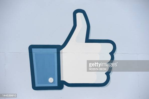 A thumbs up or 'Like' icon at the Facebook main campus in Menlo Park California May 15 2012 Facebook the world's most popular internet social network...