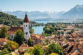 Thun cityspace with Alps mountain and lake in Switzerland