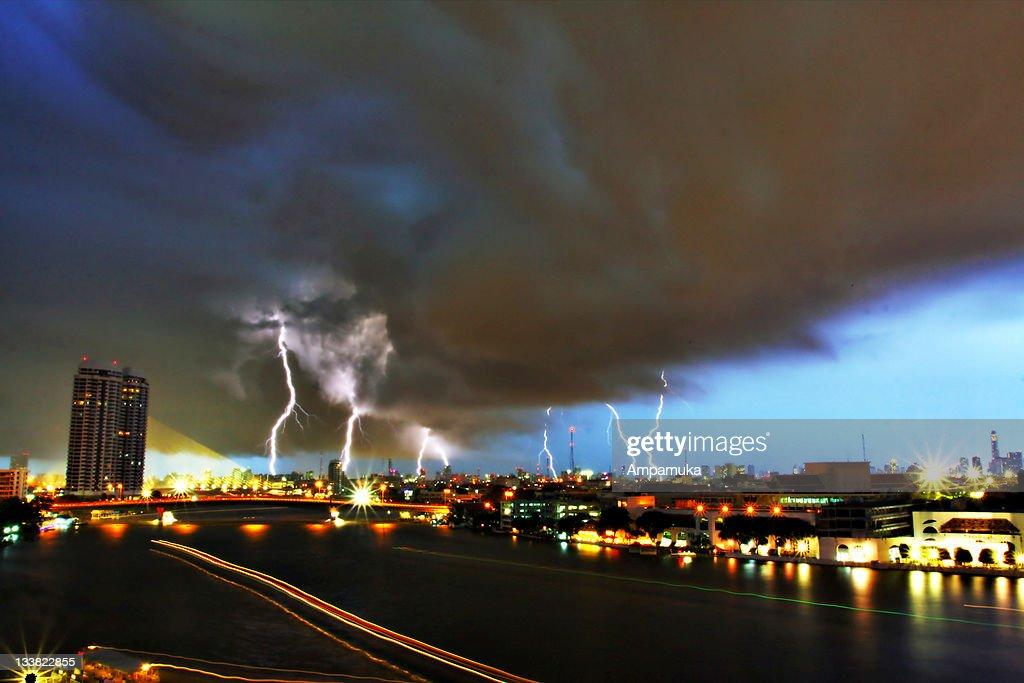 Thunder in Bangkok : Stock Photo