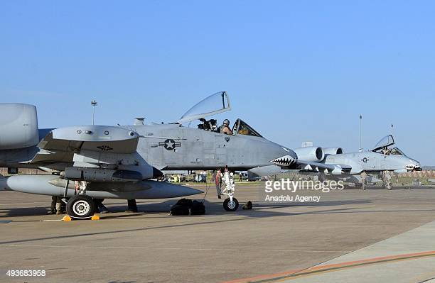 Thunderbolt II planes also known as 'tank killers' are seen at the Incirlik Air Base in Adana Turkey on October 22 2015 Twelve 'A 10 Thunderbolt II'...