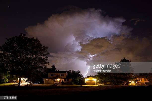 Thunderhead and Lightning Over Denver Homes