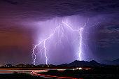 Summer thunderstorm with lightning.