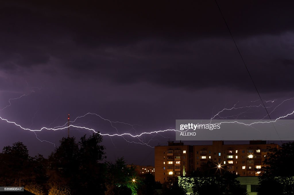 Thunderstorm with lightning : Stock Photo