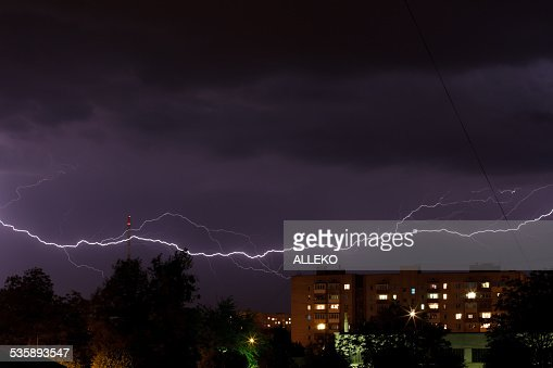 Thunderstorm with lightning : Bildbanksbilder