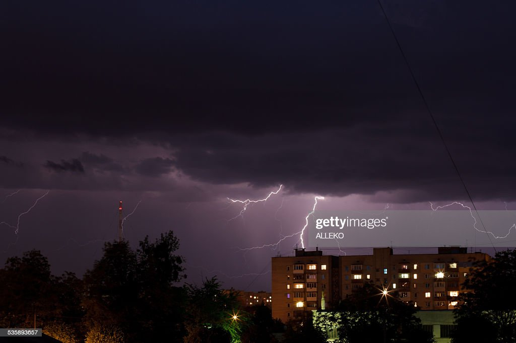 Thunderstorm with lightning : Stockfoto