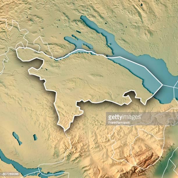Kanton Thurgau Schweiz 3D Render topographische Karte Grenze