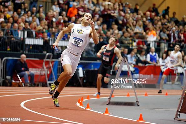 Thurgood Dennis of Wisconsin Eau Claire runs the anchor leg on the way to first place in the Men's 4x400 meet relay at the Division III Men's and...