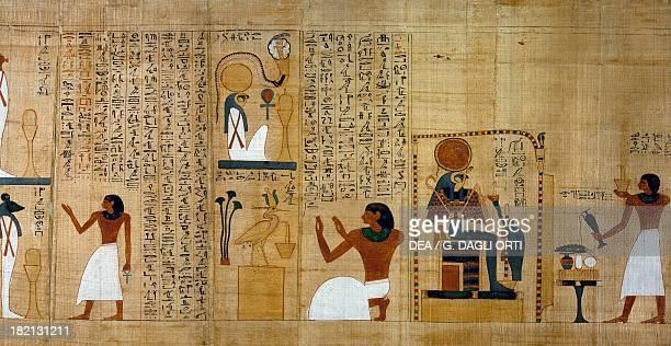 Thurification and libations in honor of RaHarakhti detail from the Mythological papyrus of Imenemsauf chief bearer of Amon Egyptian civilisation...