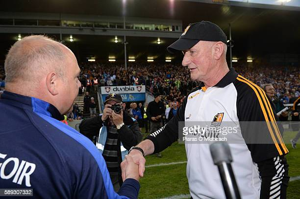 Thurles Ireland 13 August 2016 Kilkenny manager Brian Cody shakes hands with Waterford manager Derek McGrath after the GAA Hurling AllIreland Senior...