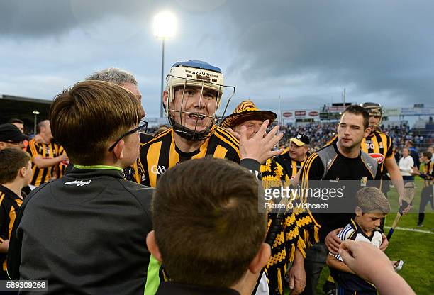 Thurles Ireland 13 August 2016 TJ Reid of Kilkenny who scores two late frees is congratulated by supporters after the GAA Hurling AllIreland Senior...