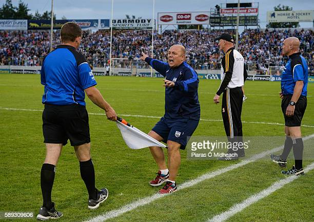 Thurles Ireland 13 August 2016 Waterford manager Derek McGrath in conversation with linesman Colm Lyons during the GAA Hurling AllIreland Senior...