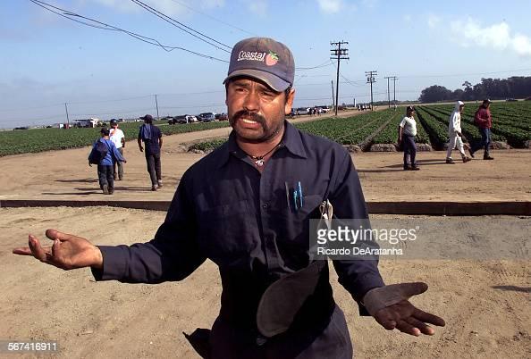 Thursday 5/4/2000 Oxnard CA –– Coastal Berry Company worker Leandro Ramirez is against the UFW union or any other union He says Coastal has good...