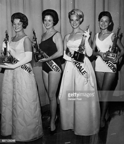 Thursday And Friday Winners In Miss Colorado Competition Left to right Jacqueline Ann Dvoracek Joen Houston Cheryl Sweeten Karen Clark Credit Denver...