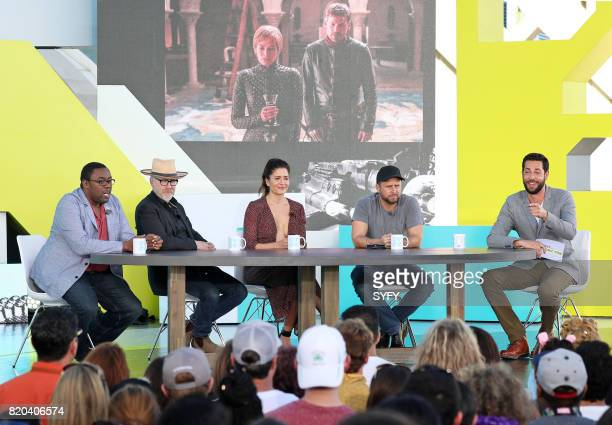 CON Thursday July 20th 2017 Pictured Andre Meadows Adam Savage Mercedes Masohn James Roday and Zachary Levi