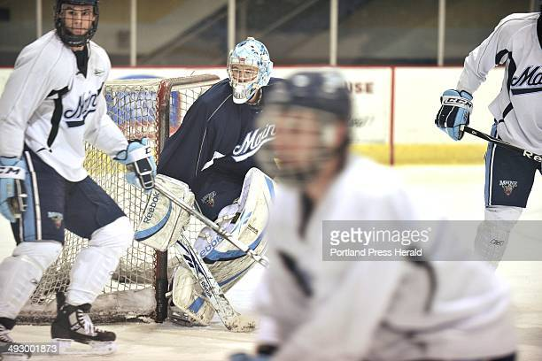 Thursday March 3 2011 University of Maine hockey goalie Dan Sullivan in practice at USM's ice arena