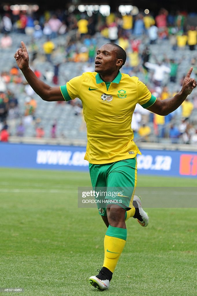 <a gi-track='captionPersonalityLinkClicked' href=/galleries/search?phrase=Thuso+Phala&family=editorial&specificpeople=4422095 ng-click='$event.stopPropagation()'>Thuso Phala</a> of South Africa after scoring a goal during the friendly football match between Zambia and South Africa at Orlando Stadium in Johannesburg on January 4, 2015. AFP PHOTO/GORDON HARNOLS