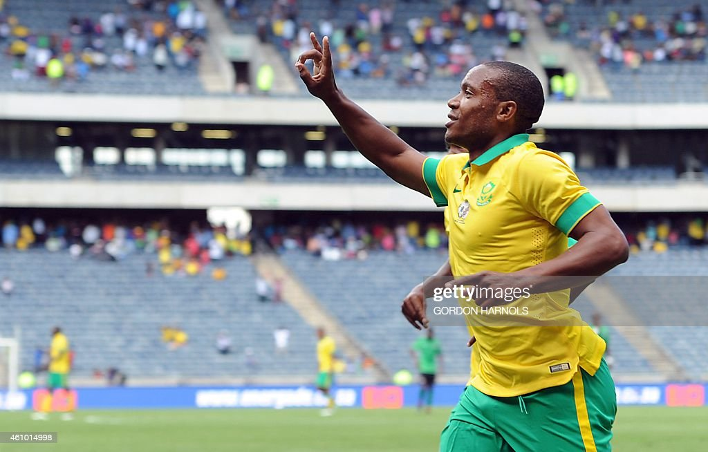 <a gi-track='captionPersonalityLinkClicked' href=/galleries/search?phrase=Thuso+Phala&family=editorial&specificpeople=4422095 ng-click='$event.stopPropagation()'>Thuso Phala</a> of South Africa celebrates after scoring a goal during the friendly football match between Zambia and South Africa at Orlando Stadium in Johannesburg on January 4, 2015. AFP PHOTO/GORDON HARNOLS