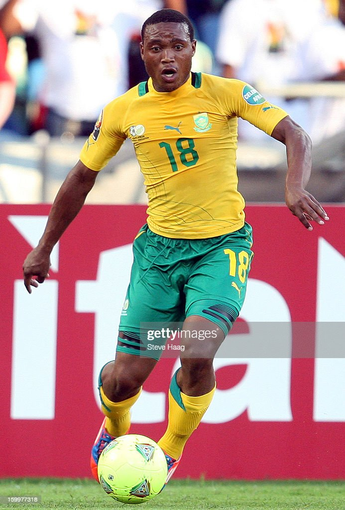 Thuso Phala of South Africa during the 2013 African Cup of Nations match between South Africa and Angola at Moses Mahbida Stadium on January 23, 2013 in Durban, South Africa.