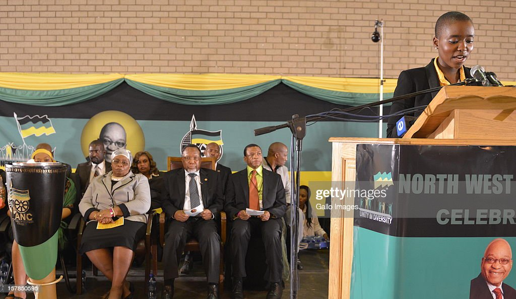 Thuthukile Zuma speaks at the Jacob Zuma Centennial lecture on December 6, 2012 in Potchefstroom, South Africa. The lecture is part of the ANC's centenary celebrations honouring the party's presidents, and is the last before their elective conference in Mangaung.