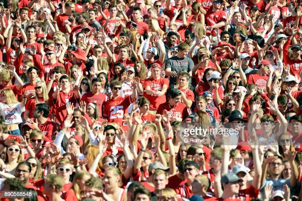 Thw Wisconsin Badgers fans cheer during the game against the Maryland Terrapins at Camp Randall Stadium on October 21 2017 in Madison Wisconsin