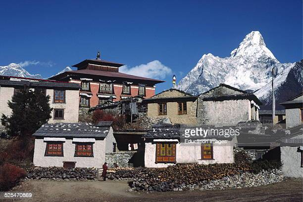Thyangboche Monastery Is The Sherpa's Main Religious and Cultural Center This Structure Burned In 1989 and Is Being Rebuilt Khumbu District Nepal