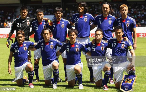 Thye Japan team pose for a team photo before the Japan v Ivory Coast International Friendly match at Stade de Toubillon on June 4 2010 in Sion...