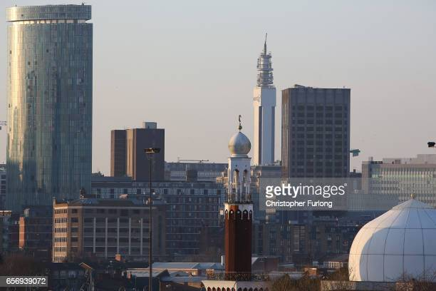 Thye minaret of Birmingham Central Mosque stands against the skyline of Birmingham on March 23 2017 in Birmingham England After yesterday's London...