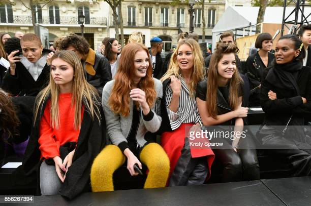 Thylane Blondeau a model Doutzen KroesBarbara Palvin and Liya Kebede are seen on the runway prior Le Defile L'Oreal Paris as part of Paris Fashion...