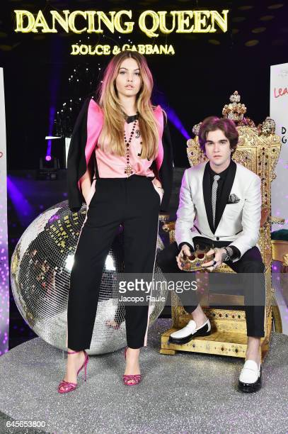 Thylane Blondeau and Gabriel Kane Day Lewis attend the Dolce Gabbana 'Dancing Queen' After Show Party during Milan Fashion Week Fall/Winter 2017/18...