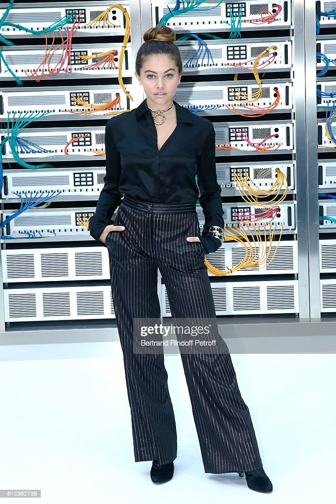 Thylane Blondeau attends the Chanel show as part of the Paris Fashion Week Womenswear Spring/Summer 2017 on October 4, 2016 in Paris, France.