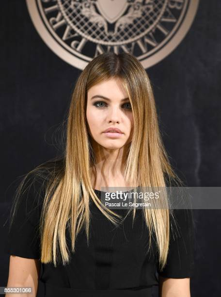 Thylane Blondeau attends the L'Oreal Paris X Balmain event as part of the Paris Fashion Week Womenswear Spring/Summer 2018 on September 28 2017 in...
