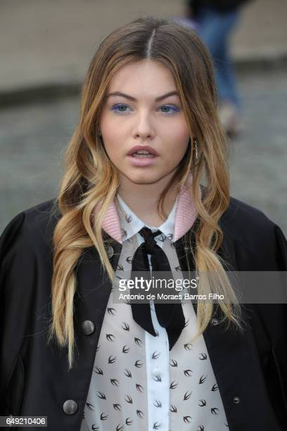 Thylane Blondeau attends the Miu Miu show as part of the Paris Fashion Week Womenswear Fall/Winter 2017/2018 on March 7 2017 in Paris France