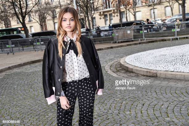 Thylane Blondeau is seen arriving at Miu Miu fashion show during the Paris Fashion Week Womenswear Fall/Winter 2017/2018 on March 7 2017 in Paris...