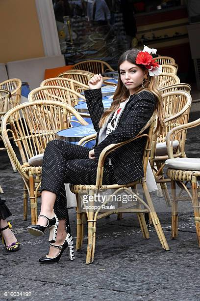 Thylane Blondeau is seen on the set ofthe DolceGabbana Summer 2017 #DGMillennials Advertising Campaign on October 21 2016 in Capri Italy