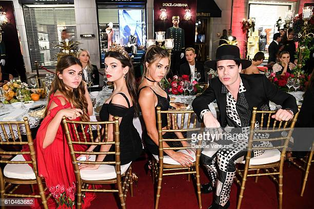 Thylane Blondeau Sonia Ben Ammar Sistine Stallone and Leon Else attend the DolceGabbana Boutique Opening Event during Milan Fashion Week...