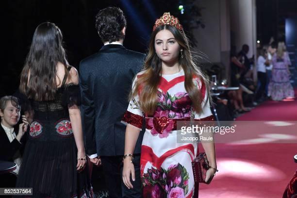 Thylane Blondeau walks the runway at the Dolce Gabbana secret show during Milan Fashion Week Spring/Summer 2018 at Bar Martini on September 23 2017...